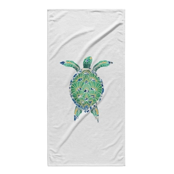 Kavka Designs Blue/Green/Yellow Turtle Beach Towel