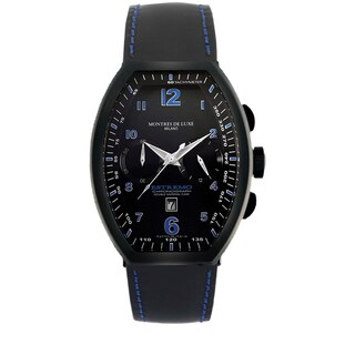 Montres De Luxe Men's Quartz Chronograph Black Leather Strap Watch
