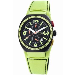 Montres De Luxe Men's Quartz Chronograph Yellow Leather Strap Watch