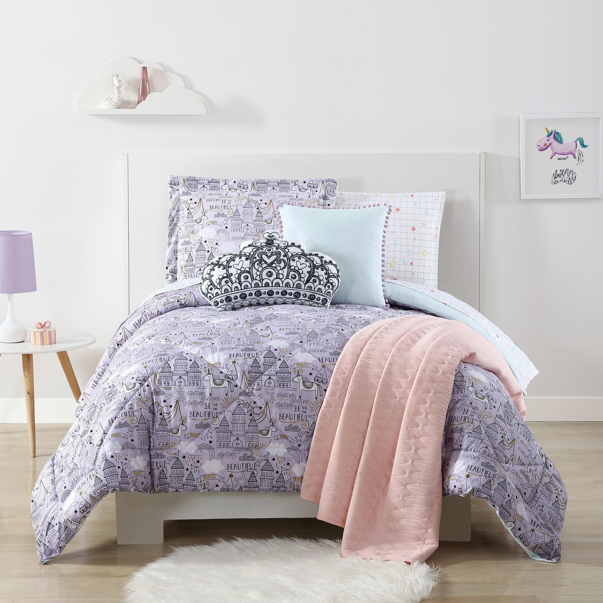Princess Sofia Exclusive Designed Comfortable Girls Bedding Twin Comforter and Sham Set Purple