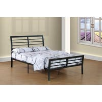 Wright queen size - Contemporary dark grey metal sleigh bed with ladder-back headboard and footboard