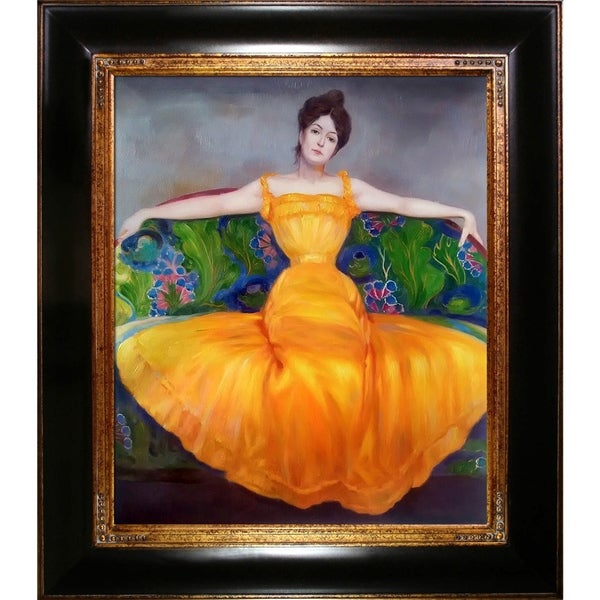 Max Kurwzeil 'Lady in Yellow Dress' Hand Painted Oil Reproduction 28692126