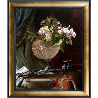 Martin Johnson Heade 'Still Life with Apple Blossoms in a Nautilus Shell, 1870' Hand Painted Oil Reproduction