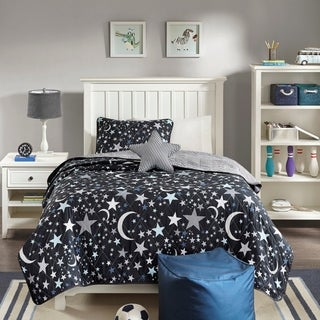 Mi Zone Kids Shooting Star Charcoal Printed 4-Piece Reversible Coverlet Set