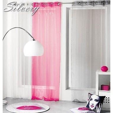 Evideco Striped Organza Sheer Curtain Panel Silvery - 55 x 95