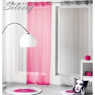 Evideco Striped Organza Sheer Curtain Panel Silvery - 55 x 95 - 55 x 95