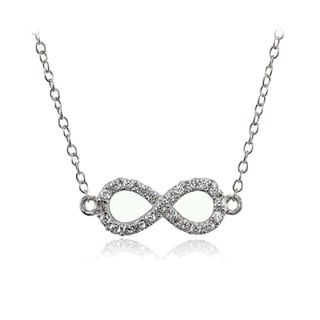 ICZ Stonez Sterling Silver Cubic Zirconia Infinity Choker Necklace