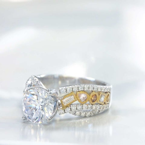 Lihara and Co. 18k White and Yellow Gold 0.63ct TDW Semi-Mount Fancy Color and White Diamond Semi-Mount Engagement Ring