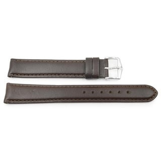 18mm Dark Brown Smooth Leather Padded Watch Band