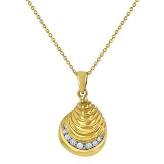 10k Yellow Gold 1 7 Carat Diamonds Seashell Pendant By
