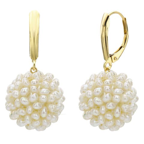 DaVonna 14k Yellow Gold Snowball White Freshwater Pearl Lever-back Dangle Earrings