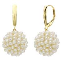 DaVonna 14k Yellow Gold Snowball White Freshwater Pearl Lever-back Dangle Earrings
