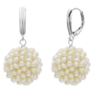 DaVonna 14k White Gold Snowball White Freshwater Pearl Lever-back Dangle Earrings