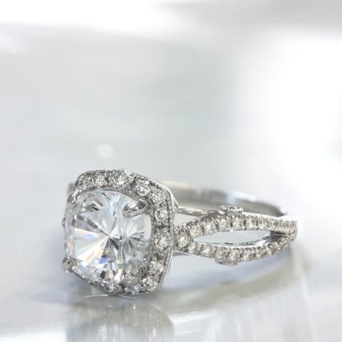 Lihara and Co. 18K White Gold 1/3 ct TDW Semi-Mount Diamond Halo Engagement Ring (G-H, VS1-VS2) - White G-H