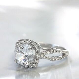 Lihara and Co. 18K White Gold 1/3 ct TDW Semi-Mount Diamond Halo Engagement Ring (G-H, VS1-VS2)