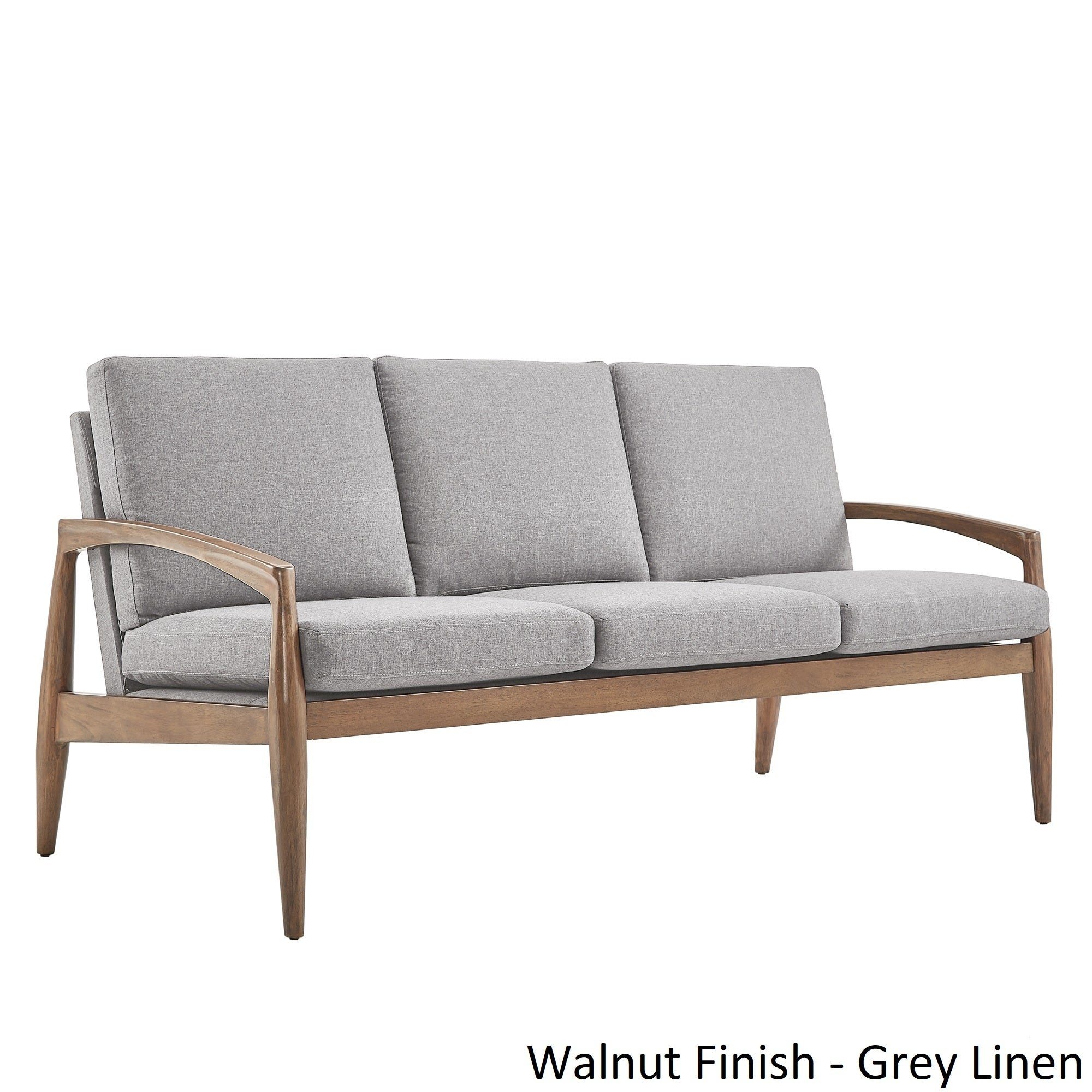 grayson mid century curved wood arm sofa by inspire q modern ebay. Black Bedroom Furniture Sets. Home Design Ideas
