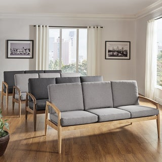 Grayson Mid-Century Curved Wood Arm Sofa by iNSPIRE Q Modern