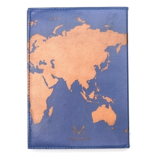 Handcrafted Globetrotter Leather Journal - Blue (India)
