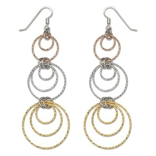 Sterling Silver Tri-color Diamond-cut Circles Chandelier Drop Hook Earrings - White