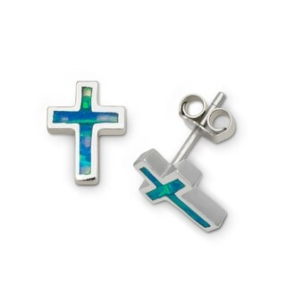 Sterling Silver Created Inlaid Blue Opal Small Cross Earrings