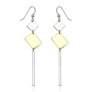 Sterling Silver Large Two-tone Geometric Polish Drop Hook Earrings - White
