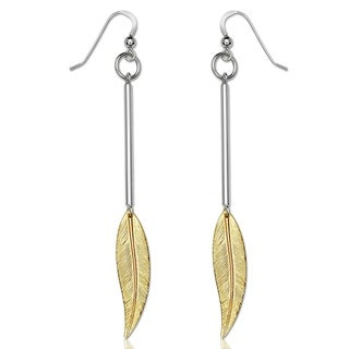 Sterling Silver Large Two-tone Feather Drop Hook Earrings - White