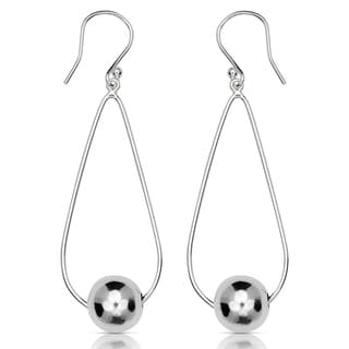 Sterling Silver 8mm Polished Ball Teardrop Drop Hook Earrings - White