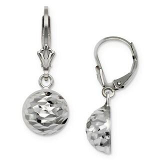 Sterling Silver Rhodium-plated Diamond-cut Half-ball Drop Leverback Earrings - White