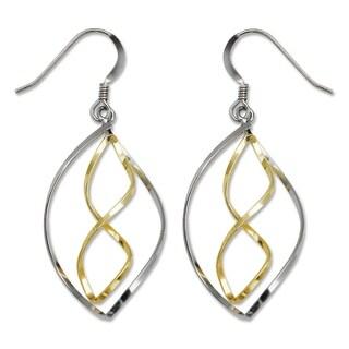 Sterling Silver Two-tone Infinity Polish Drop Hook Earrings - White