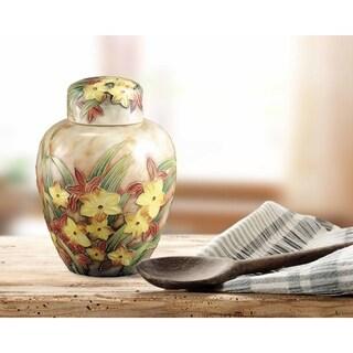 """Springdale Tiffany 4.5""""W Springtime Hand Painted Porcelain Jar"""