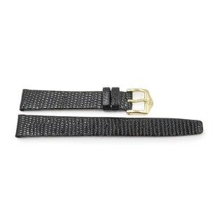 Black Leather Lizard Grain Glossy Watch Band (14mm, 16mm, 20mm)