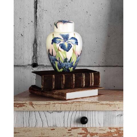 "Springdale 4""W Iris Hand Painted Porcelain Jug with Lid"