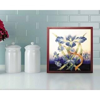 "Springdale 9.5""H Iris Hand Painted Porcelain Decorative Wall Art"
