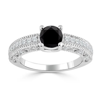 Auriya 14K Gold 1ct TDW Black and White Diamond Engagement Ring (Black)