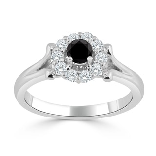 Auriya 14k Gold 1/2ct TDW Black and White Diamond Halo Engagement Ring (Black)