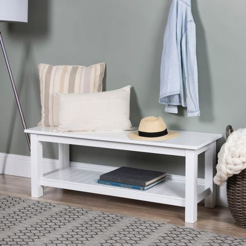 50-inch Entryway Bench with Lower Slatted Shelf