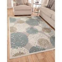 Greyson Living Dacia Tan/Ivory Chenille/Viscose Damask Area Rug
