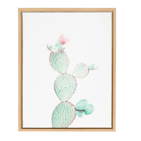 Kate and Laurel Sylvie Prickly Pear Cactus Natural Framed Canvas Wall Art by Simon Te Tai