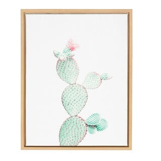 Kate and Laurel Sylvie Prickly Pear Cactus Natural Framed Canvas Wall Art by Simon Te Tai https://ak1.ostkcdn.com/images/products/17179691/P23440792.jpg?impolicy=medium