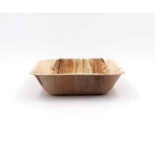 "EcoSouLife Palm Leaf - Sq Deep Bowl 6"" / 15CM, Natural - 12 CT"