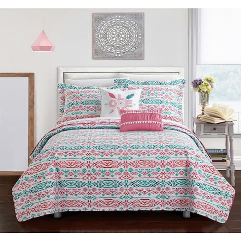 Chic Home Dai Pink Reversible 5-Piece Quilt Set
