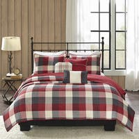 Madison Park Pioneer Red 6 Pieces Printed Quilted Herringbone Coverlet Set