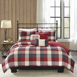 Madison Park Pioneer Red 6 Pieces Printed Quilted Herringbone Coverlet Set (2 options available)