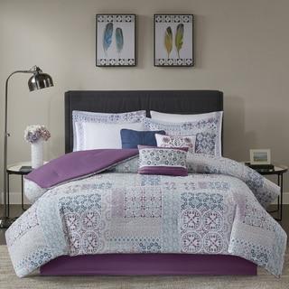 Madison Park Alexandra Berry 9-piece Cotton Percale Printed Comforter Set