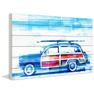 'Surf Day' Painting Print on White Wood (USA)