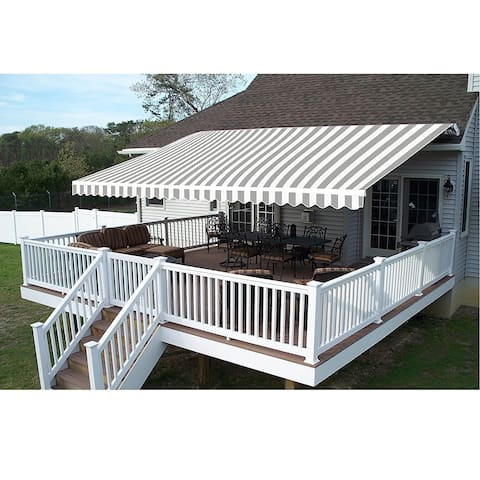 ALEKO Retractable Home Patio Canopy Awning 12 x 10 ft Grey/White - 12 x 10 ft