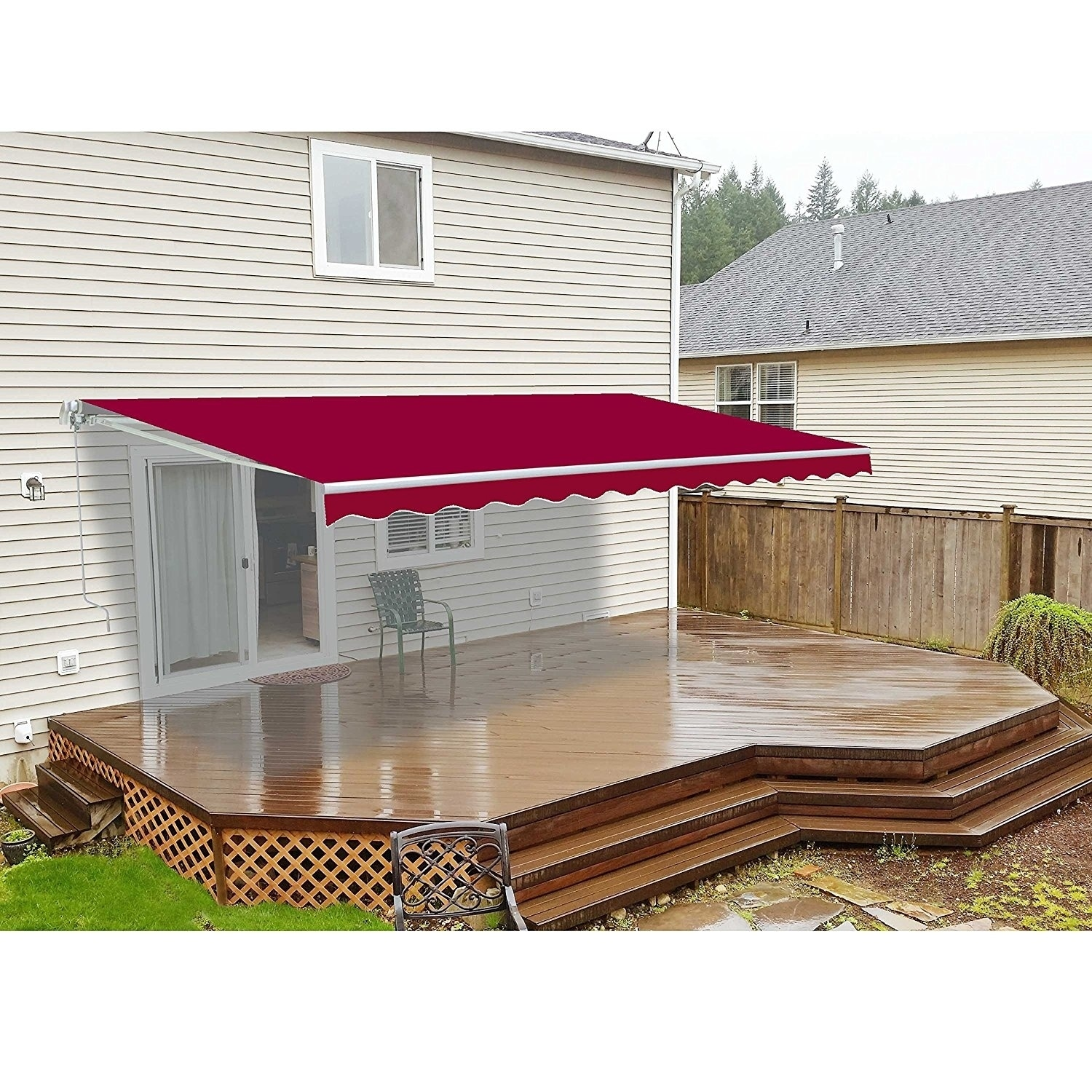 ALEKO Refurbished 13 X 10 Ft Retractable Home Patio Canopy Awning Burgundy Color