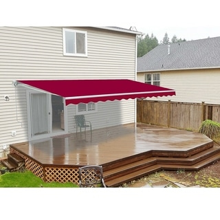 ALEKO Outdoor Retractable Home Patio Canopy Awning 13 x 10 ft Burgundy - 13 x 10 ft