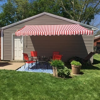 ALEKO Retractable Home Patio Canopy Awning 12 x 10 ft Red/White