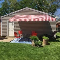 ALEKO Retractable Home Patio Canopy Awning 12 x 10 ft Red/White - 12 x 10 ft